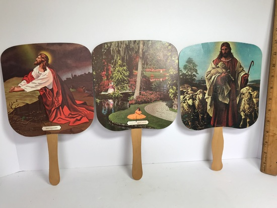 Vintage Jesus & Spiritual Hand Fans with Advertisements on Back