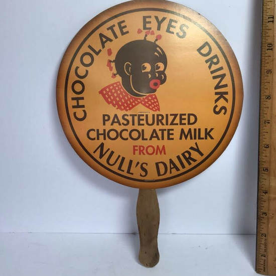 "Vintage ""Chocolate Eyes Drinks"" Null's Dairy Advertisement Hand Fan"
