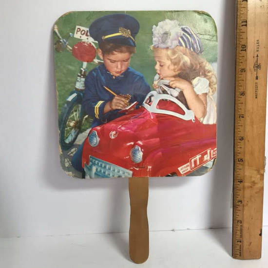 Vintage Children Hand Fan with Advertisement on Back