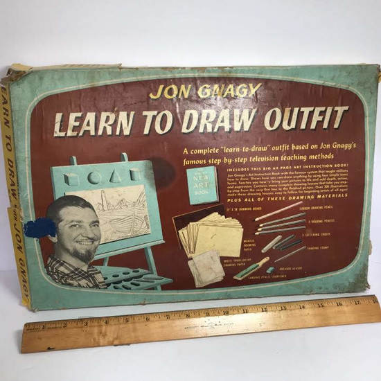 "Vintage ""Jon Gnagy Learn to Draw Outfit"" In Original Box"