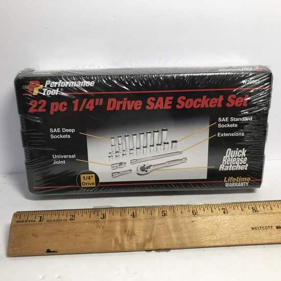 """22 pc 1/4"""" Drive SAE Socket Set"""