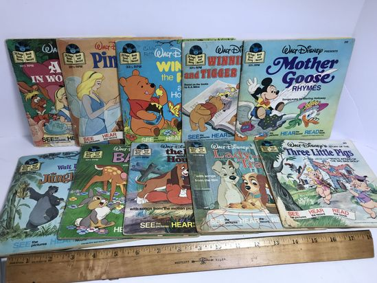 Lot of 1970's Walt Disney Read Along Book & Records - Many Classics!