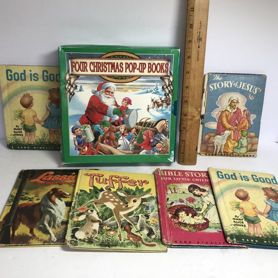 Lot of 1950's Children's Books by Rand McNally & Christmas Pop Up Book Set