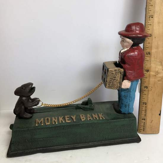 Cast Iron Monkey Penny Bank in Box