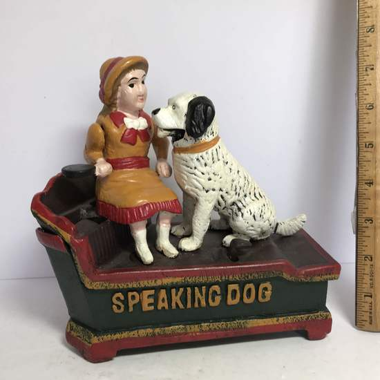 Cast Iron Speaking Dog Penny Bank in Box