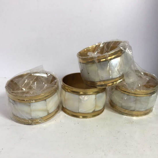 Vintage Gold Tone Napkin Holders with Shell Inlay in Case