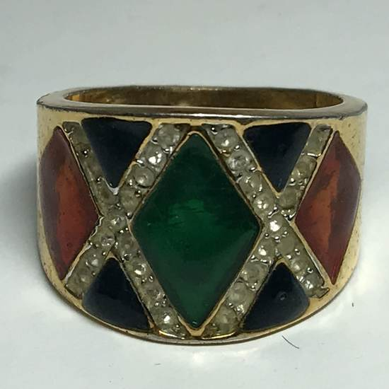Gold Tone Chunky Ring with Multi-Colored Inlay & Clear Stones Size 8