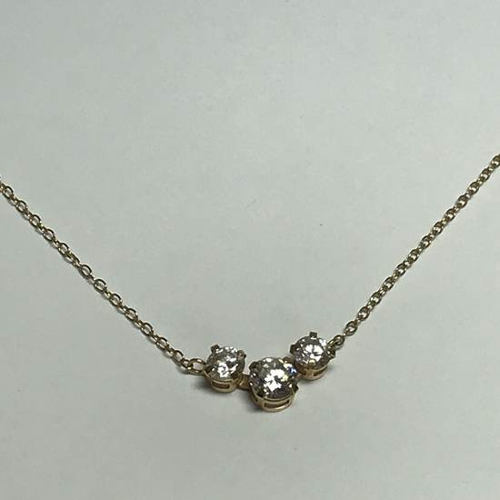 """14K Gold 18"""" Gold Chain with 3 Clear Stones"""