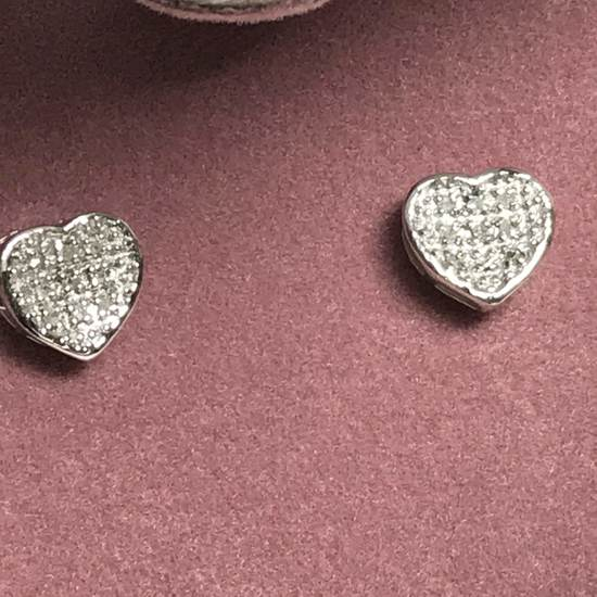Sterling Silver Heart Earrings with Diamond Center