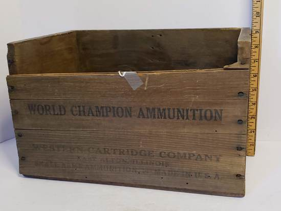 Vintage Wooden World Champion Ammo Box 12 Gauge - Western Cartridge Company