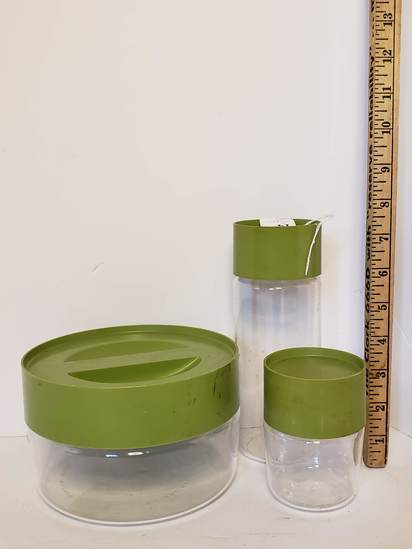 3 Pc. Vintage Pyrex Glass Canister Set with Green Plastic Lids