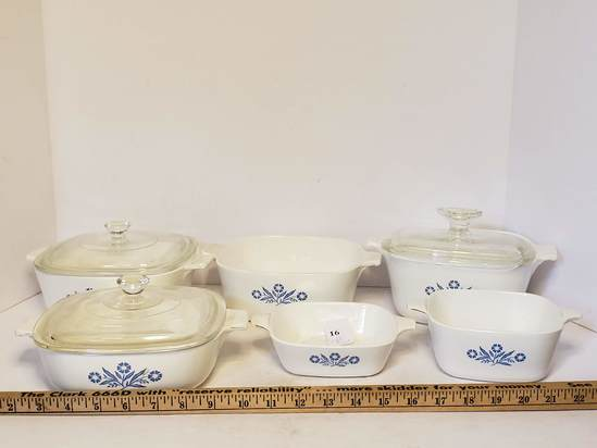 Lot of Corningware w/Blue Cornflower Pattern
