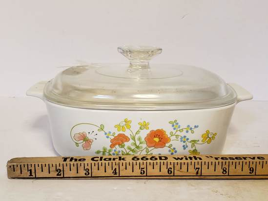 Corningware Covered Casserole Dish w/Wildflower Pattern