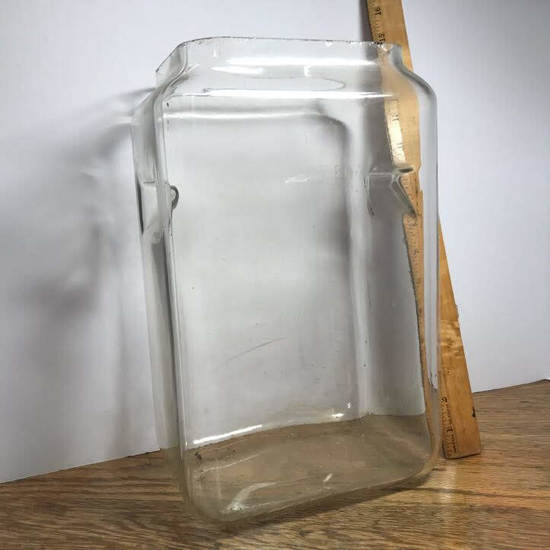"""Tall Vintage Glass """"Pyrex"""" Store Jar with Double Internal Handles"""
