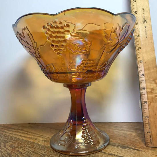 Tall Vintage Carnival Compote with Embossed Grape Design