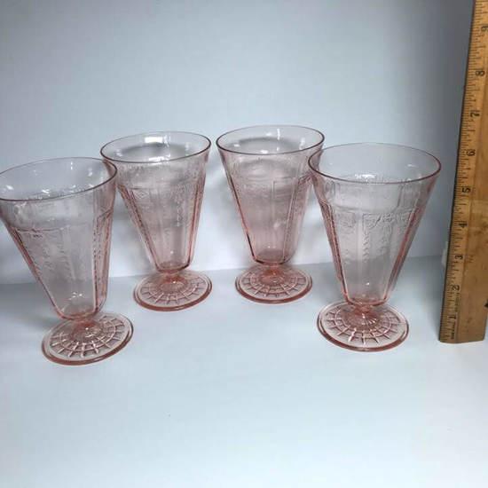Set of 4 Pink Depression Parfait Glasses