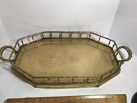 Vintage Large Brass Double Handled Serving Tray