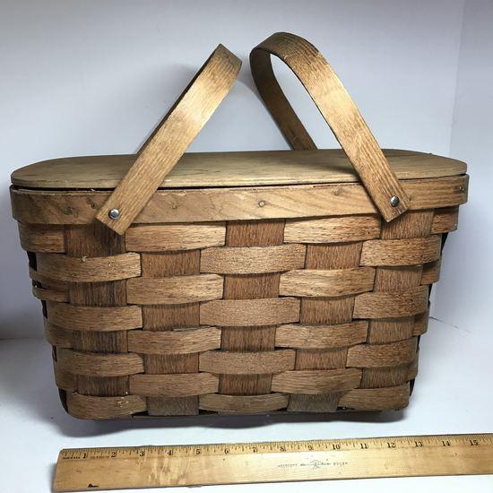 Vintage Split Oak Picnic Basket By Putney Basketville Vermont
