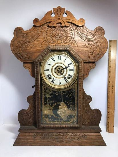 Beautiful Antique Gingerbread Pendulum Clock with Key - Works