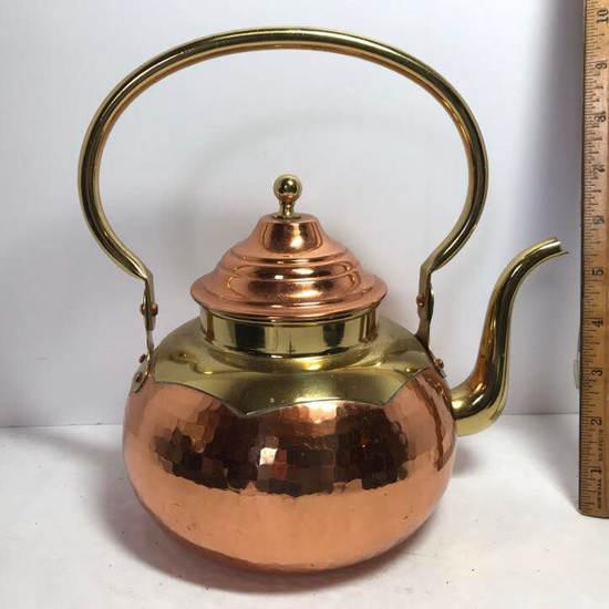 Very Nice Copper & Brass Tone Teapot - Made in Belgium