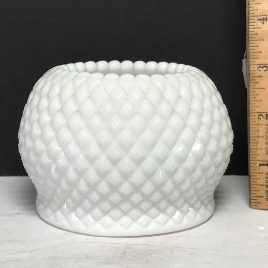 Vintage Milk Glass Candle Holder with Diamond Pattern