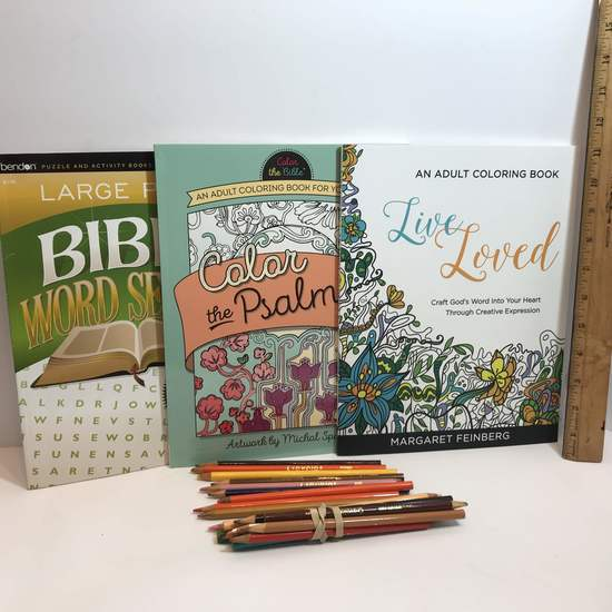 Lot of Adult Coloring Books, Word Search & Colored Pencils