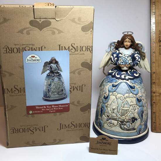 """Gorgeous Original Jim Shore """"Blessed Be Your Winter Memories"""" Blue Angel Figurine with Box"""