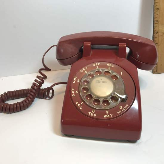 Vintage Red Rotary Dial Desk Telephone