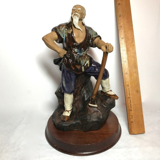 Vintage Oriental Mud Man with Axe Figure