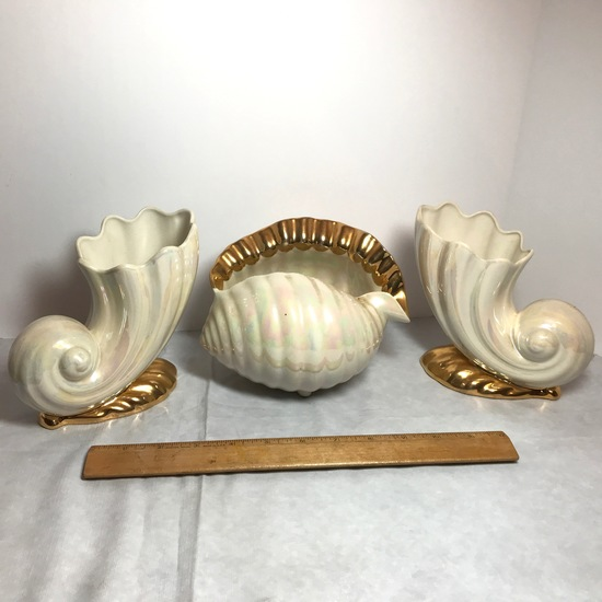 3 pc Vintage Iridescent Porcelain Shell Planters with Gilt Accent