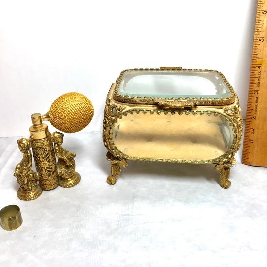Impressive Vintage Gilt & Glass Jewelry Box with Tufted Base & Gilt Cherub Perfume Bottle