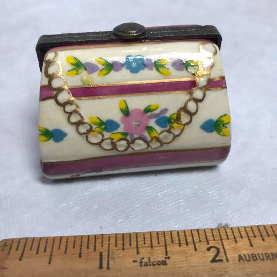 Porcelain Purse Trinket Box