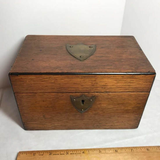 Cool Vintage Double Compartment Tea Caddy with Brass Crests