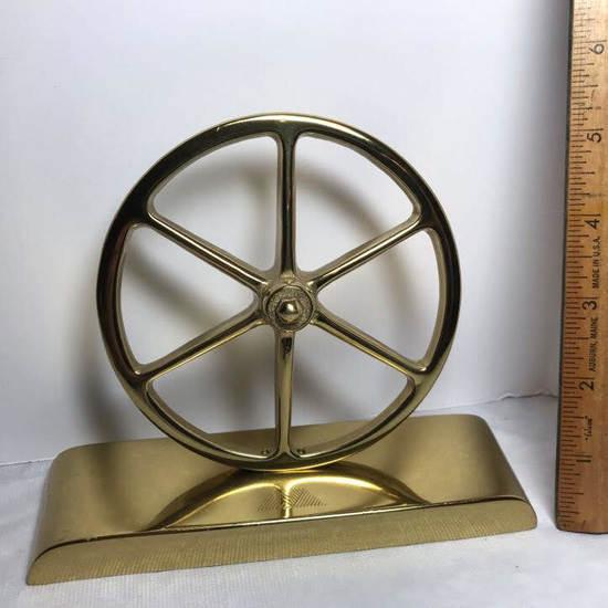 Heavy Brass Wagon Wheel on Base