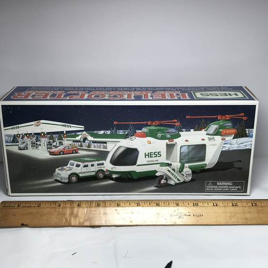 2001 HESS Helicopter with Motorcycle and Cruiser - Never Used - In Box