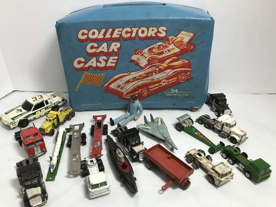 1970's Cars with Carrying Case - Cars by Yatming, Tootsie, Lesney, Hot Wheels, ERTL & More
