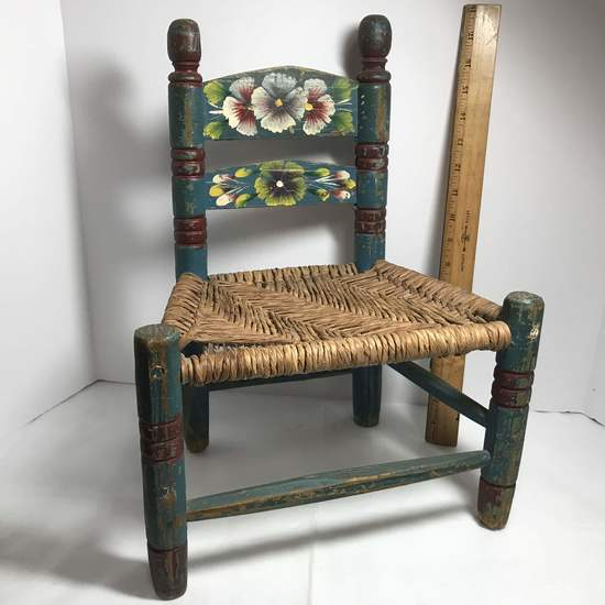 Vintage Hand Painted Wooden Children S Chair With Woven Seat