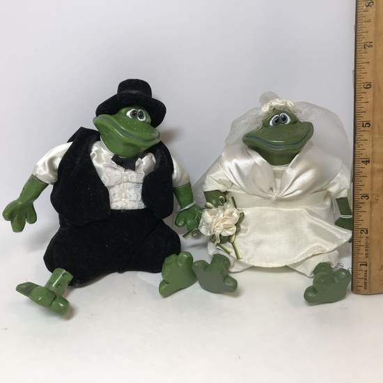 Mr. & Mrs. Pondhopper Bride & Groom Frogs with Plush Bodies