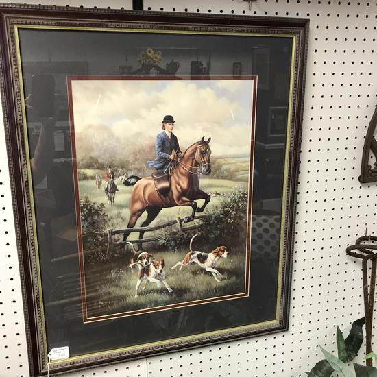 Nice Framed & Matted English Hunting Scene by J. Gibson
