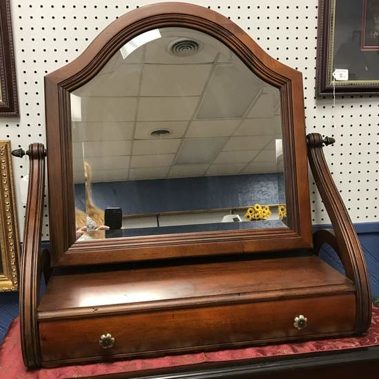 Large Ethan Allen Wooden Shaving Mirror with Single Drawer