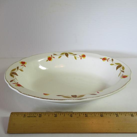 """Hall Jewel Tea """"Autumn Leaf"""" Oval Serving Bowl"""