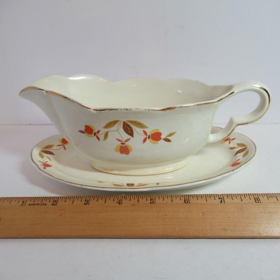"""Hall Jewel Tea """"Autumn Leaf"""" Gravy Boat & Underplate"""