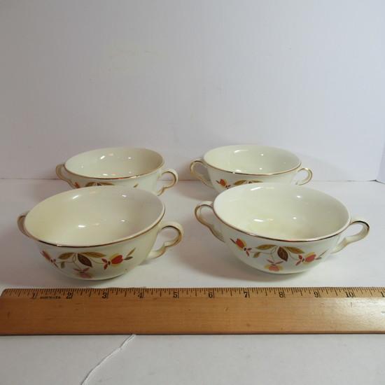 """Hall Jewel Tea """"Autumn Leaf"""" Cream Soup Set of 4"""