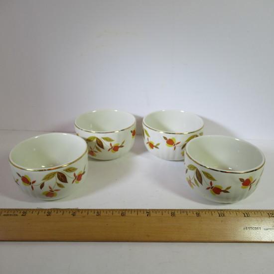 """Hall Jewel Tea """"Autumn Leaf"""" Custard Cups Rayed Set of 4"""