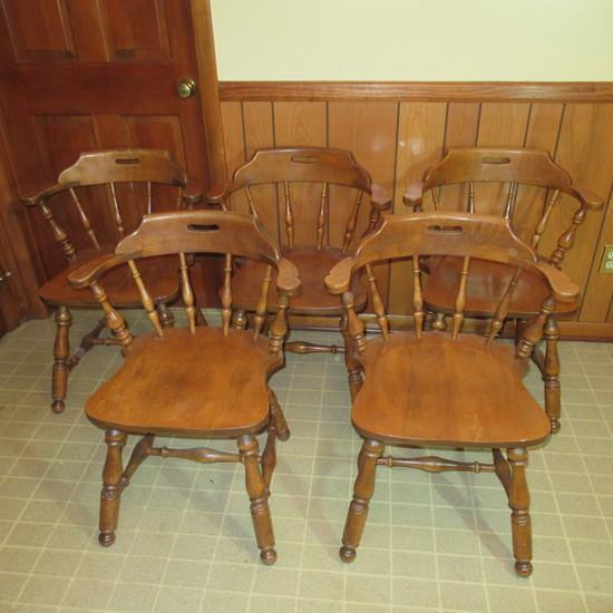 4 Ethan Allen Heirloom Nutmeg Maple Captain's Chairs Solid Maple 10-6101