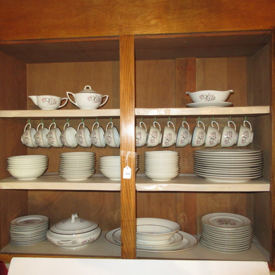 95 piece Embassy Vitrified China  7pc Place Setting for 12 & Serving pcs, Pink / Gray Floral EMB63