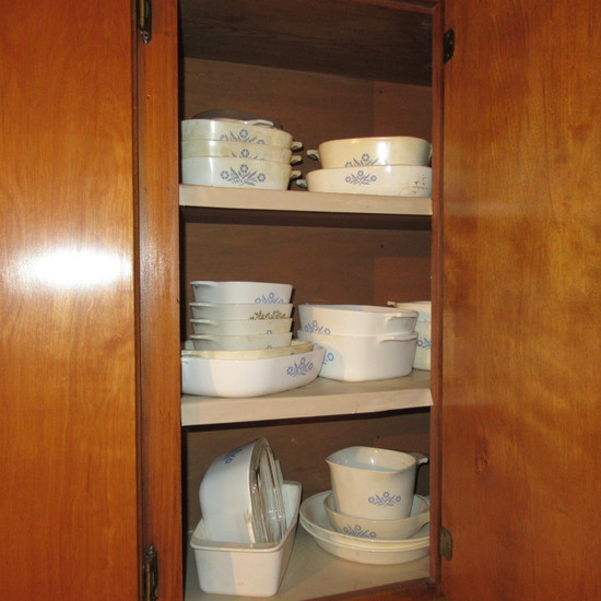 Corning Ware Blue Cornflower Cabinet Lot, 23 pieces, Nice Collection