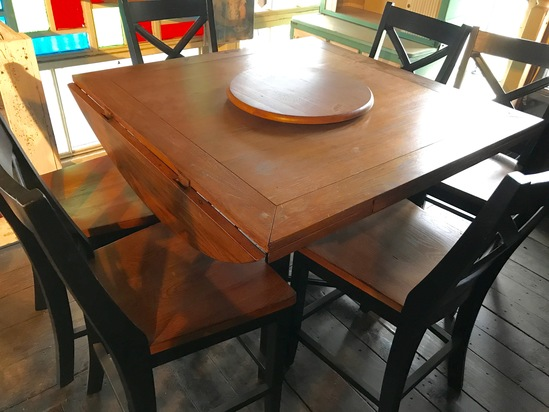 Great Bar Height 7 pc Table & Chair Set with Drop Leafs Makes it Go from Square to Round