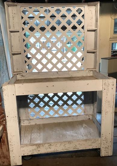Handy Wooden Rolling Garden Bench with Lattice Back