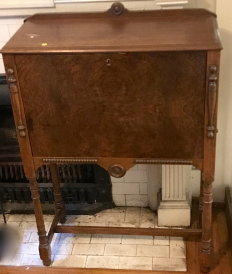 Antique Drop Front Burled Wood Drop Front Secretary with Key